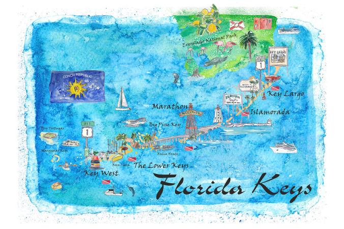 florida-keys-key-west-marathon-key-largo-illustrated-travel-poster-favorite-map-tourist-highlight